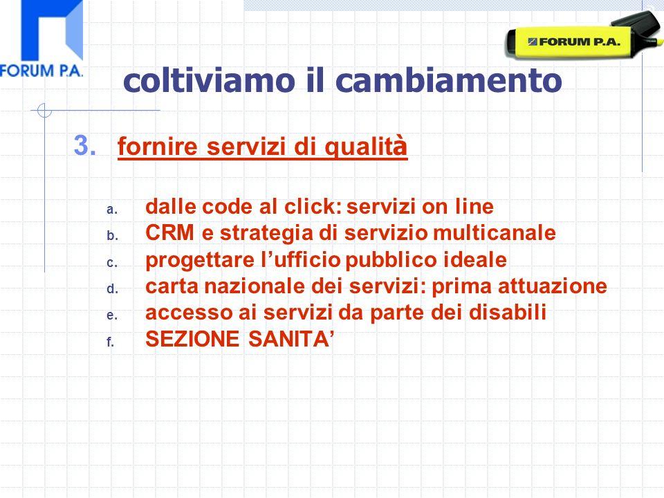 3.fornire servizi di qualit à a. dalle code al click: servizi on line b.