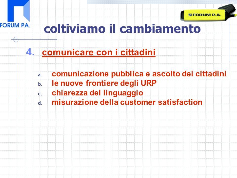 4. comunicare con i cittadini a. comunicazione pubblica e ascolto dei cittadini b.