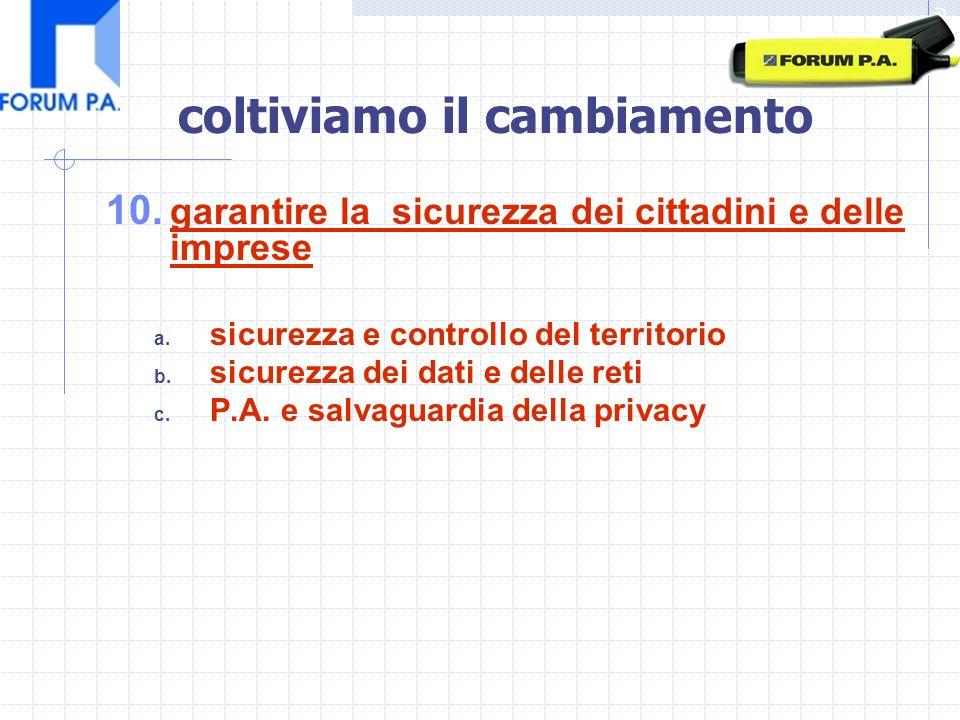 10. garantire la sicurezza dei cittadini e delle imprese a.
