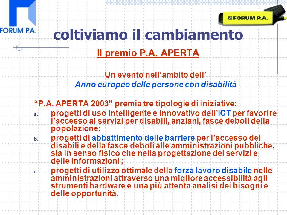 Il premio P.A. APERTA Un evento nellambito dell Anno europeo delle persone con disabilità P.A.