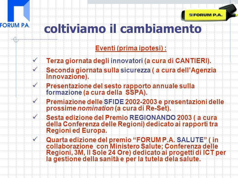 Eventi (prima ipotesi) : Terza giornata degli innovatori (a cura di CANTIERI).
