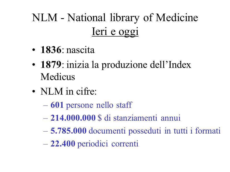 NLM - National Library of Medicine Scopo e obiettivi Fornisce informazioni a professionisti della biomedicina e a pazienti.