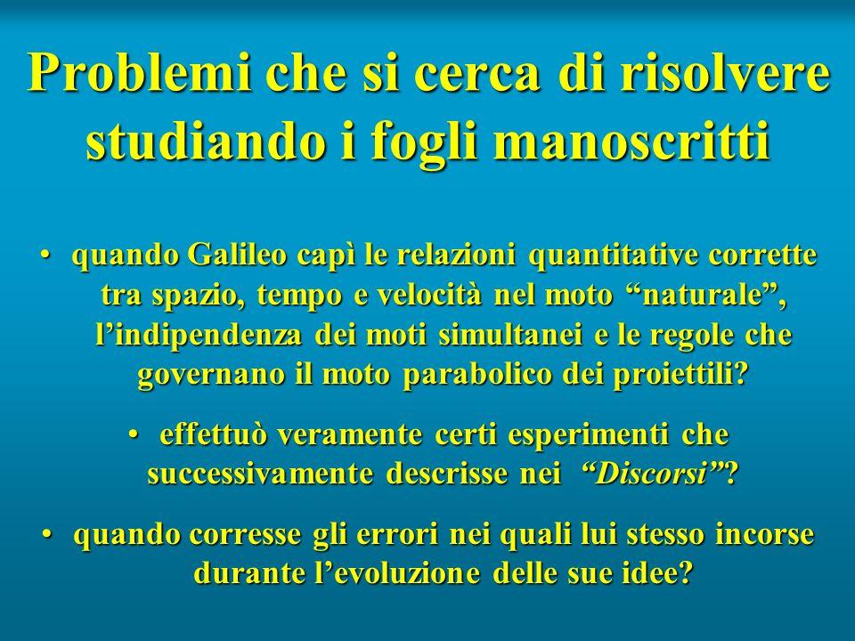 Problemi che si cerca di risolvere studiando i fogli manoscritti quando Galileo capì le relazioni quantitative corrette tra spazio, tempo e velocità n