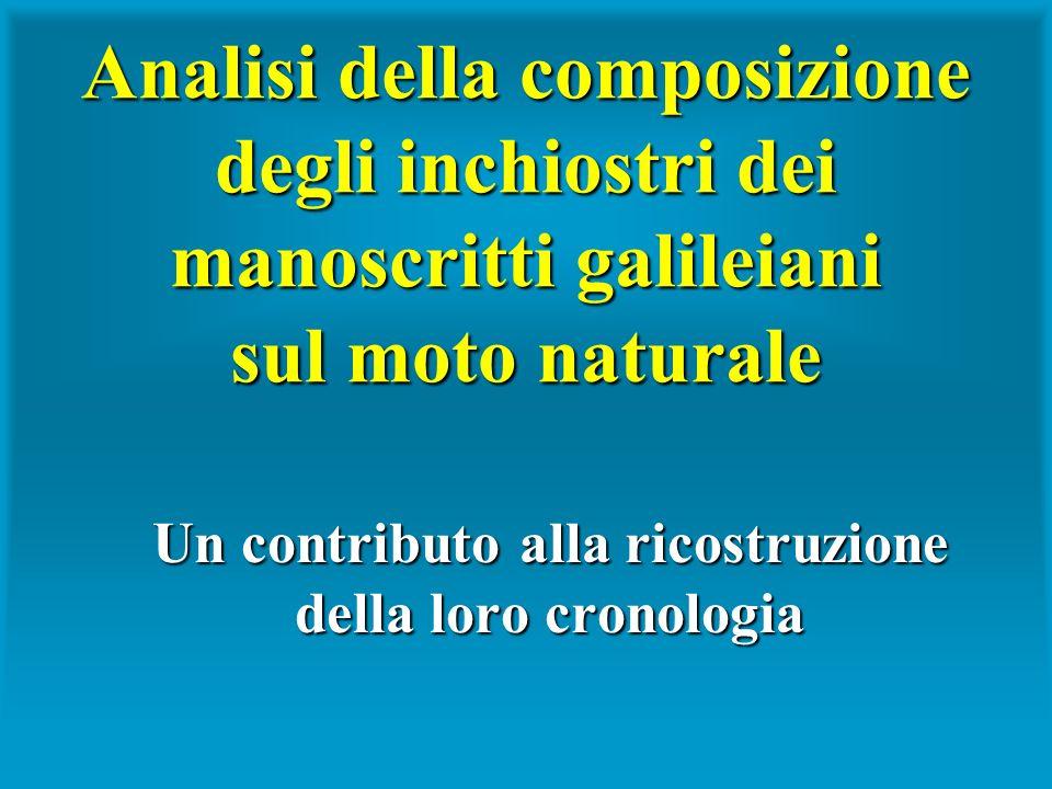 Analisi della composizione degli inchiostri dei manoscritti galileiani sul moto naturale Un contributo alla ricostruzione della loro cronologia