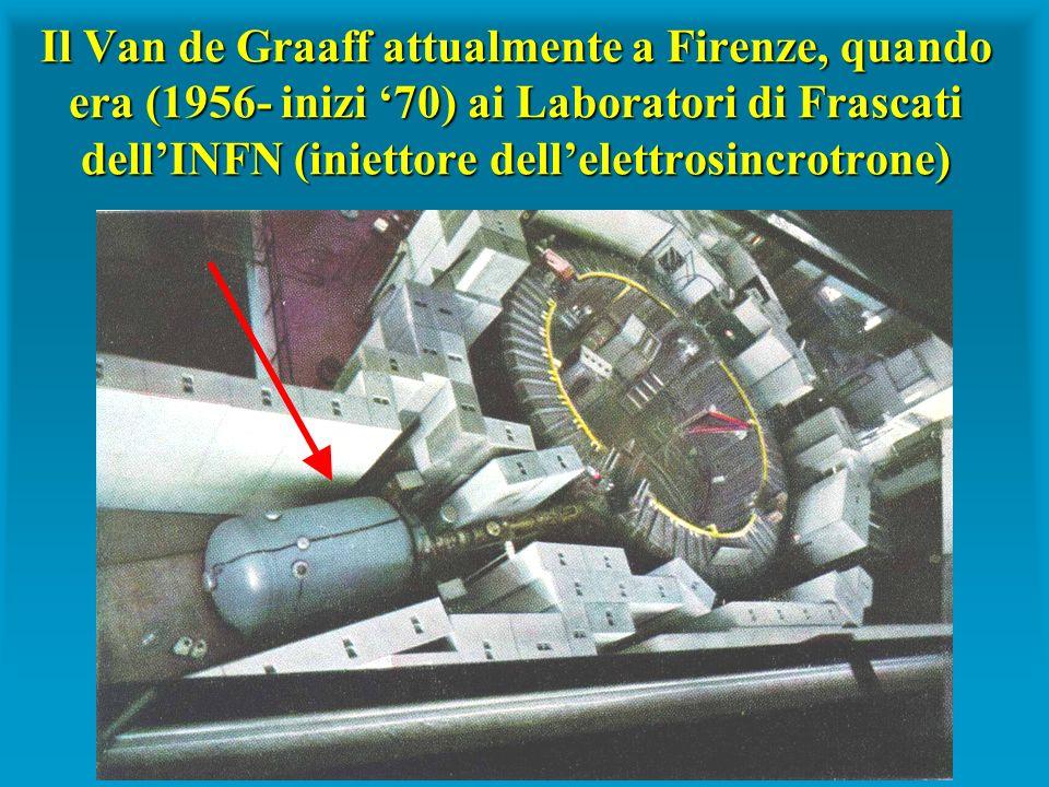 Il Van de Graaff attualmente a Firenze, quando era (1956- inizi 70) ai Laboratori di Frascati dellINFN (iniettore dellelettrosincrotrone)