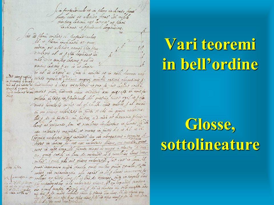 Vari teoremi in bellordine Glosse, sottolineature