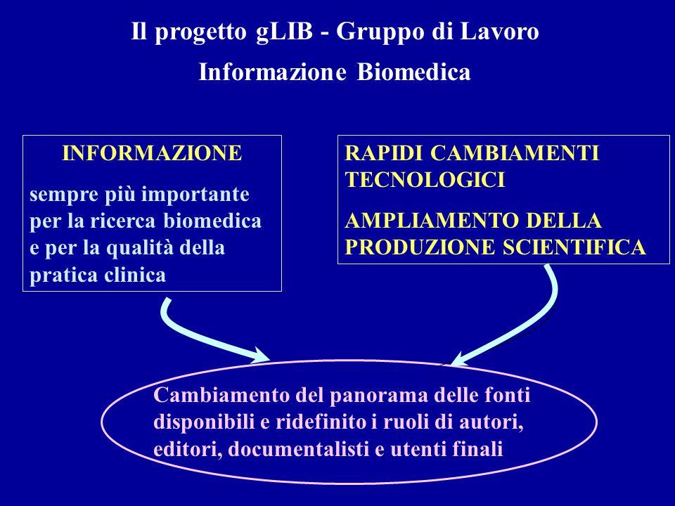 Il progetto gLIB - Gruppo di Lavoro Informazione Biomedica INFORMAZIONE sempre più importante per la ricerca biomedica e per la qualità della pratica