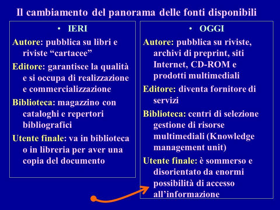 Il cambiamento del panorama delle fonti disponibili IERI Autore: pubblica su libri e riviste cartacee Editore: garantisce la qualità e si occupa di re