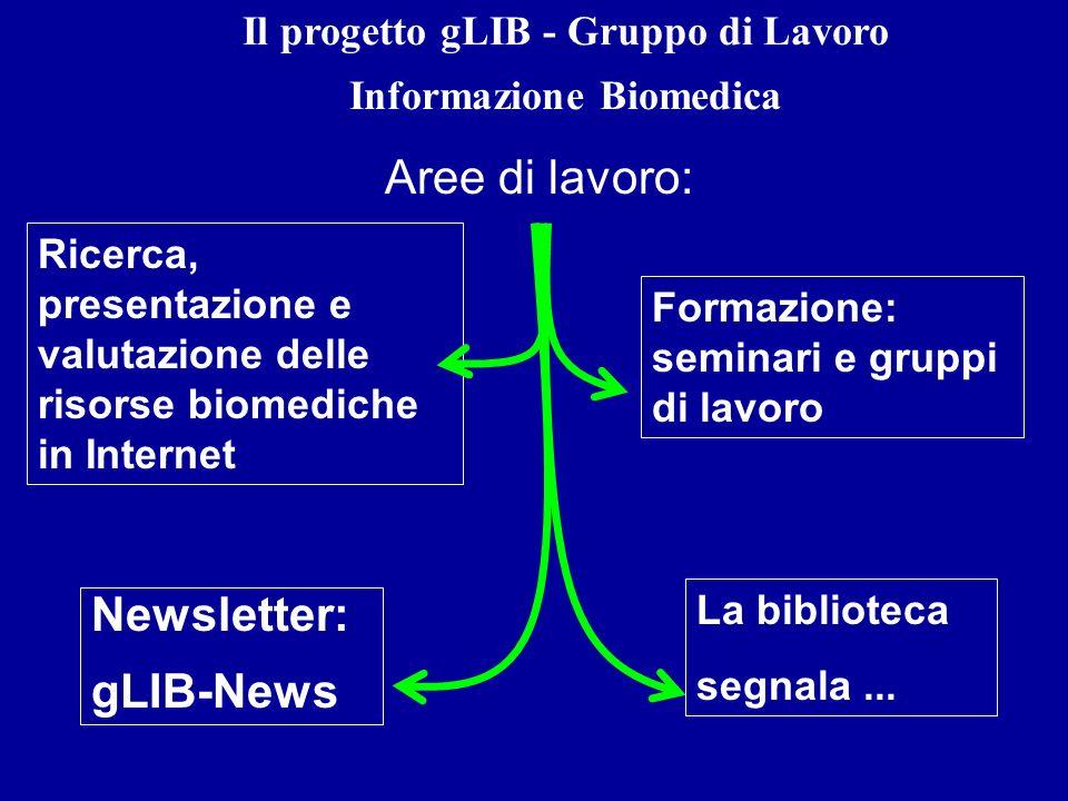 Il progetto gLIB - Gruppo di Lavoro Informazione Biomedica Aree di lavoro: Ricerca, presentazione e valutazione delle risorse biomediche in Internet N