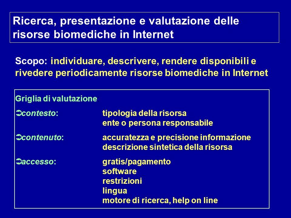 Ricerca, presentazione e valutazione delle risorse biomediche in Internet Scopo: individuare, descrivere, rendere disponibili e rivedere periodicament