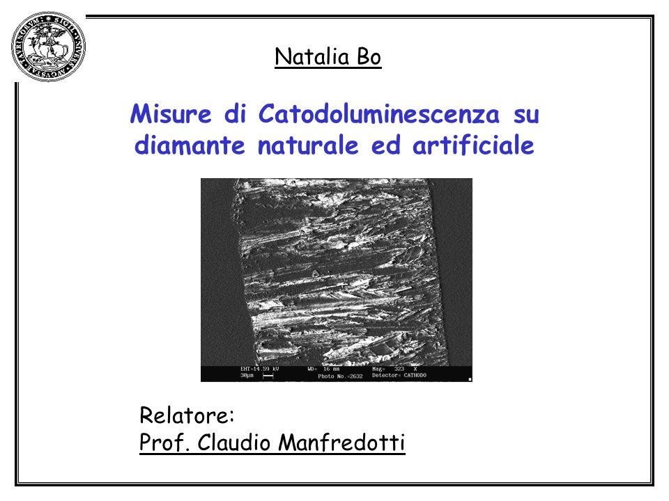 Natalia Bo Misure di Catodoluminescenza su diamante naturale ed artificiale Relatore: Prof. Claudio Manfredotti