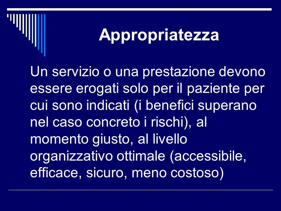 Appropriatezza Un servizio o una prestazione devono essere erogati solo per il paziente per cui sono indicati (i benefici superano nel caso concreto i