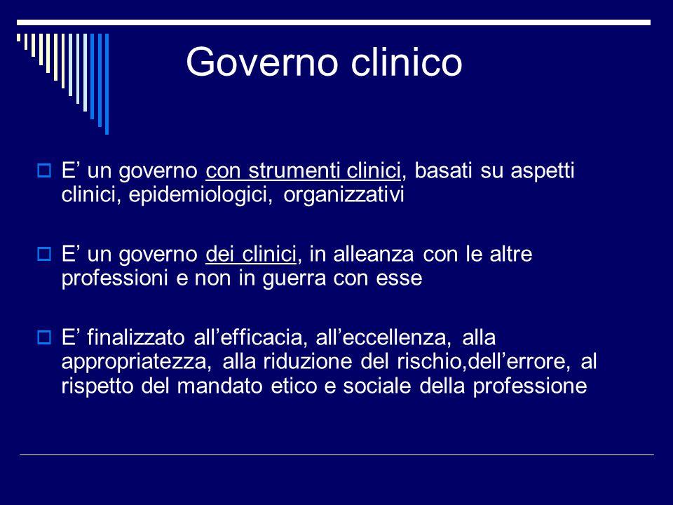 Governo clinico E un governo con strumenti clinici, basati su aspetti clinici, epidemiologici, organizzativi E un governo dei clinici, in alleanza con