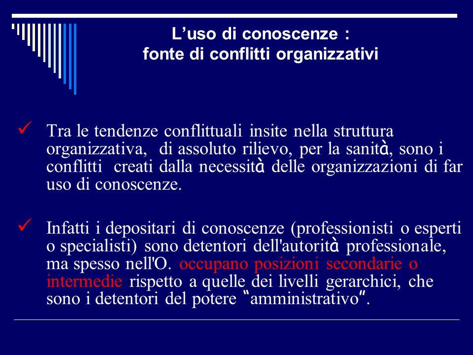 Luso di conoscenze : fonte di conflitti organizzativi Tra le tendenze conflittuali insite nella struttura organizzativa, di assoluto rilievo, per la s