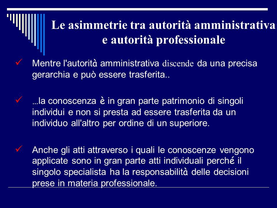 Le asimmetrie tra autorità amministrativa e autorità professionale Mentre l autorit à amministrativa discende da una precisa gerarchia e può essere trasferita..