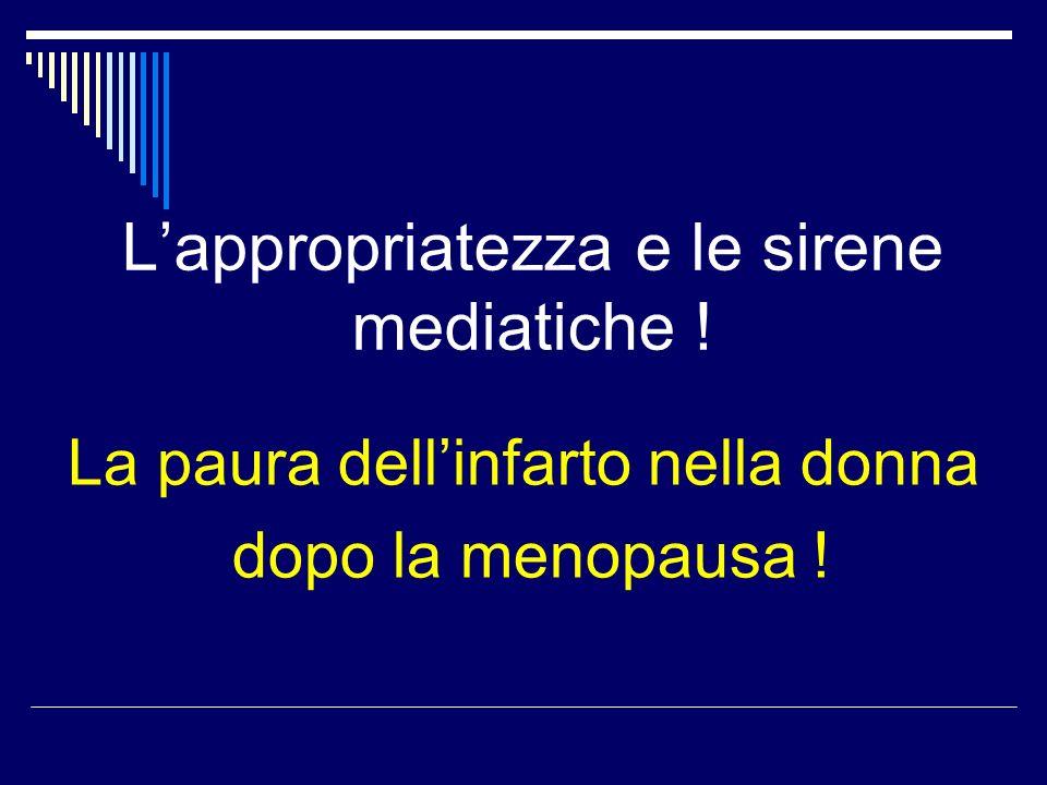Lappropriatezza e le sirene mediatiche ! La paura dellinfarto nella donna dopo la menopausa !