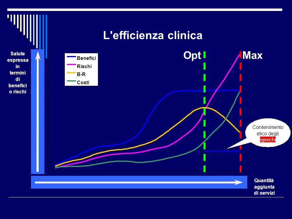 L'efficienza clinica 0,00 50,00 100,00 150,00 200,00 250,00 300,00 1234567891011121314 Quantità aggiunta di servizi Salute espressa in termini di bene