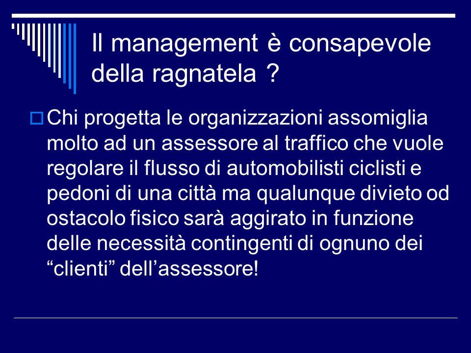 Il management è consapevole della ragnatela ? Chi progetta le organizzazioni assomiglia molto ad un assessore al traffico che vuole regolare il flusso
