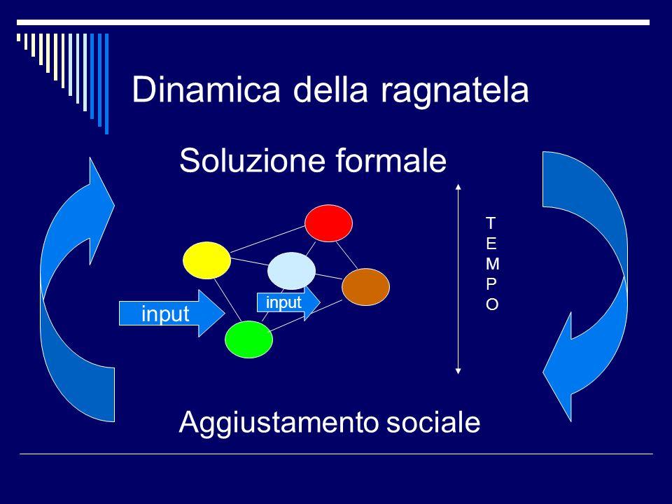 Dinamica della ragnatela input Soluzione formale Aggiustamento sociale TEMPOTEMPO