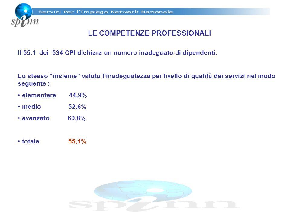 LE COMPETENZE PROFESSIONALI Il 55,1 dei 534 CPI dichiara un numero inadeguato di dipendenti. Lo stesso insieme valuta linadeguatezza per livello di qu