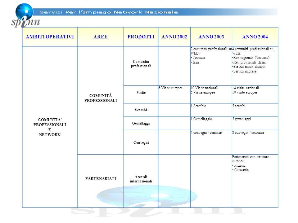 AMBITI OPERATIVIAREEPRODOTTIANNO 2002ANNO 2003ANNO 2004 COMUNITA PROFESSIONALI E NETWORK COMUNITÀ PROFESSIONALI Comunità professionali 2 comunità prof
