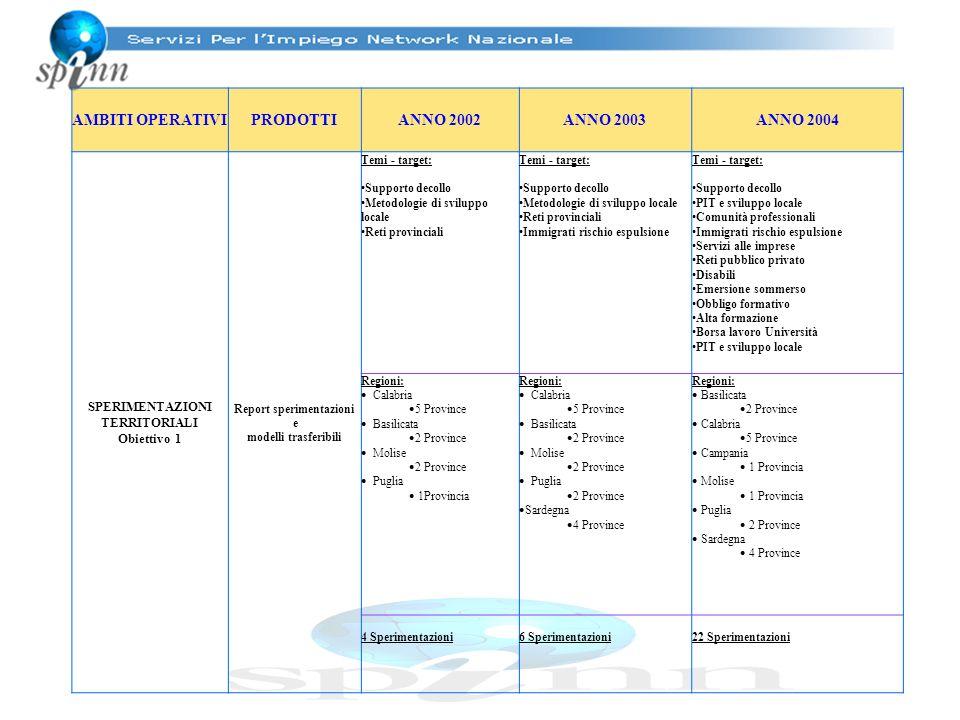 AMBITI OPERATIVIPRODOTTIANNO 2002ANNO 2003ANNO 2004 SPERIMENTAZIONI TERRITORIALI Obiettivo 1 Report sperimentazioni e modelli trasferibili Temi - targ