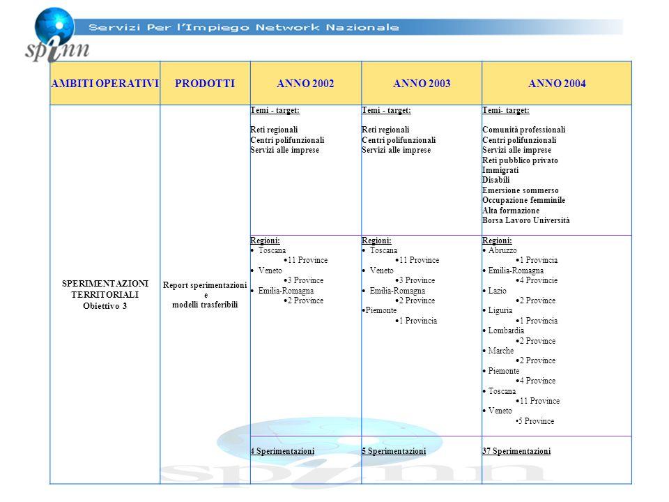 AMBITI OPERATIVIPRODOTTIANNO 2002ANNO 2003ANNO 2004 SPERIMENTAZIONI TERRITORIALI Obiettivo 3 Report sperimentazioni e modelli trasferibili Temi - targ