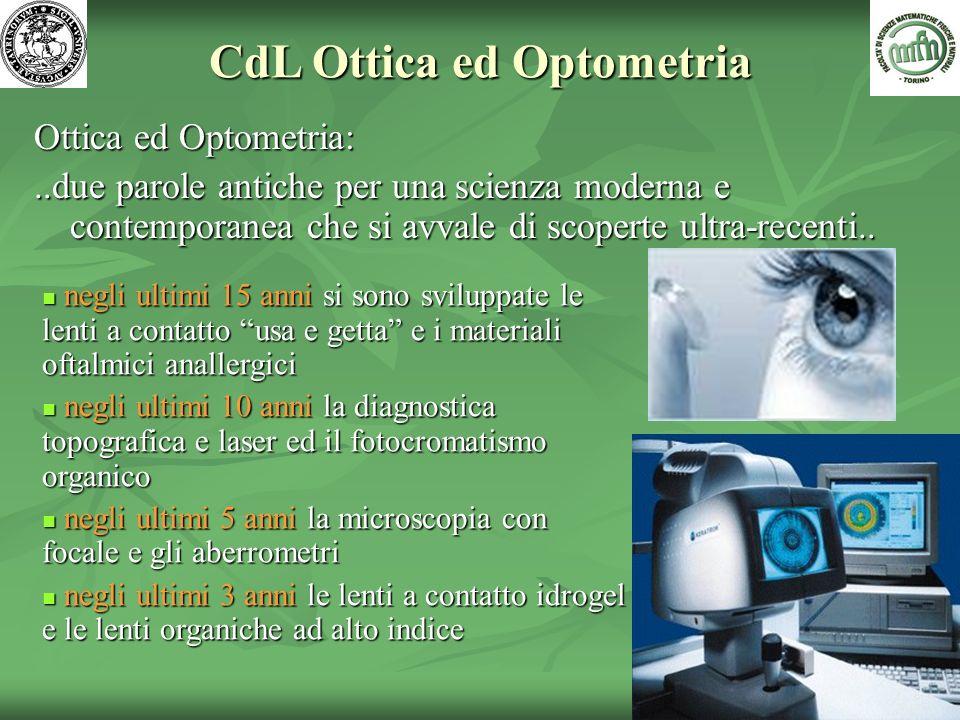 Ottica ed Optometria:..due parole antiche per una scienza moderna e contemporanea che si avvale di scoperte ultra-recenti.. CdL Ottica ed Optometria n