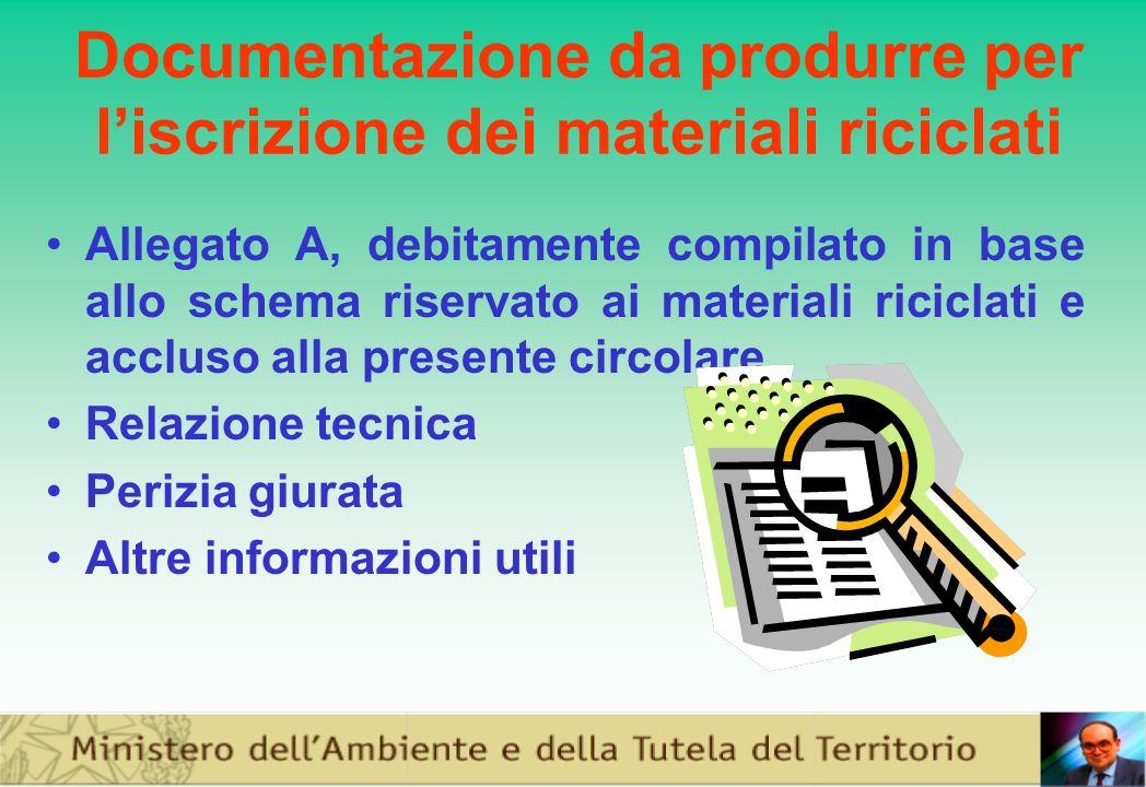 Documentazione da produrre per liscrizione dei materiali riciclati Allegato A, debitamente compilato in base allo schema riservato ai materiali riciclati e accluso alla presente circolare Relazione tecnica Perizia giurata Altre informazioni utili