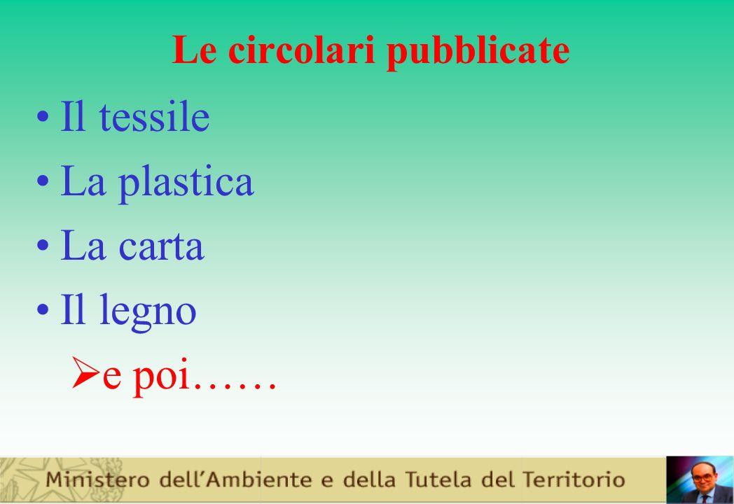 Le circolari pubblicate Il tessile La plastica La carta Il legno e poi……