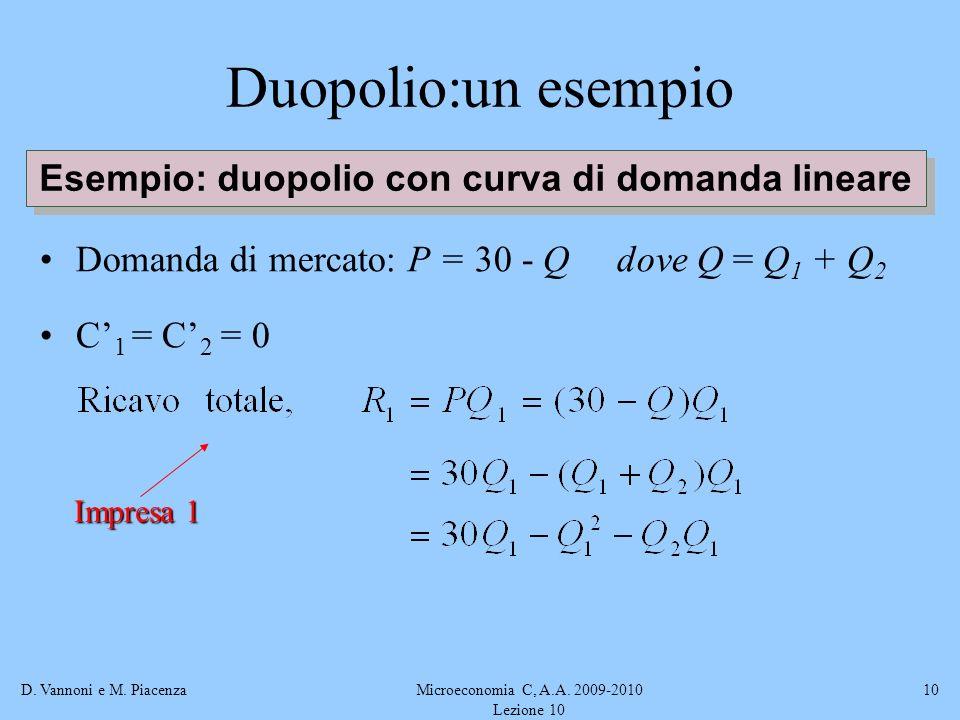 D. Vannoni e M. PiacenzaMicroeconomia C, A.A. 2009-2010 Lezione 10 10 Duopolio:un esempio Domanda di mercato: P = 30 - Q dove Q = Q 1 + Q 2 C 1 = C 2