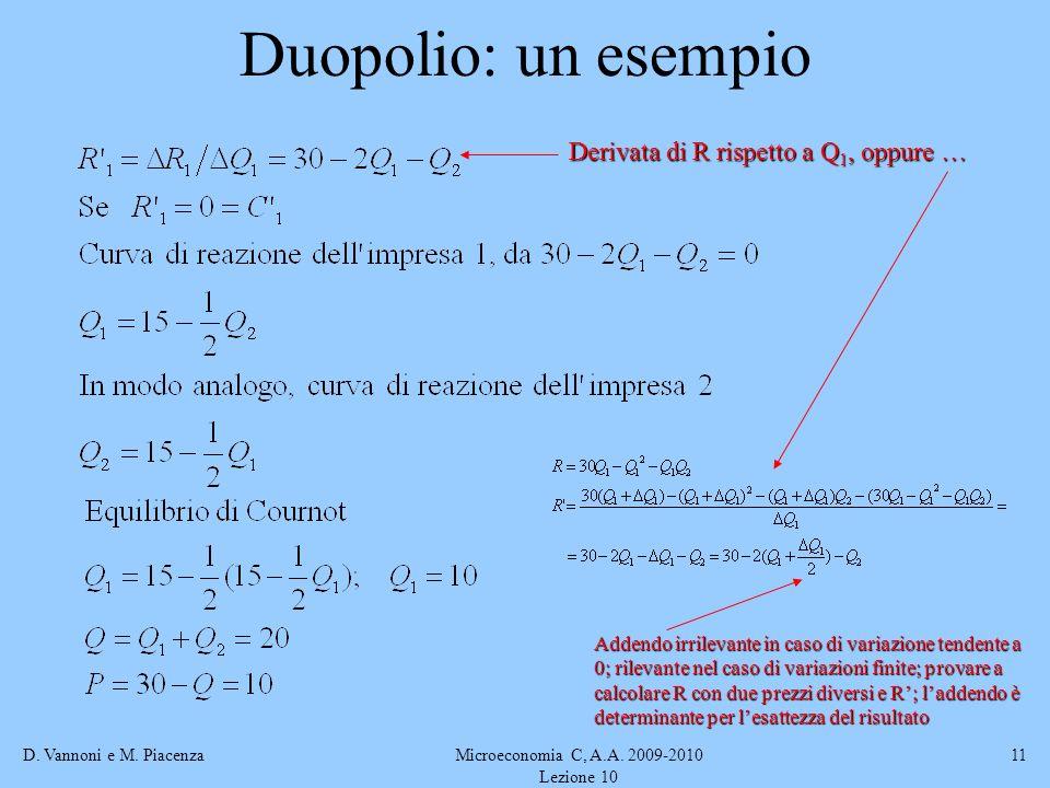 D. Vannoni e M. PiacenzaMicroeconomia C, A.A. 2009-2010 Lezione 10 11 Duopolio: un esempio Derivata di R rispetto a Q 1, oppure … Addendo irrilevante