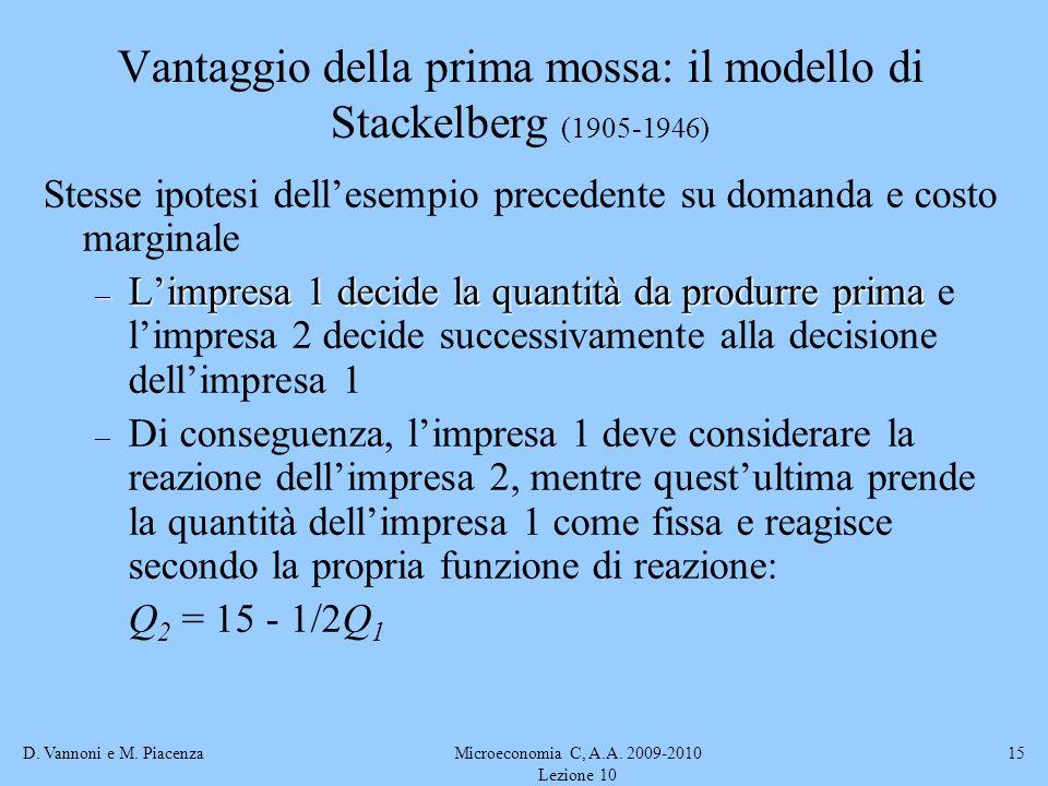 D. Vannoni e M. PiacenzaMicroeconomia C, A.A. 2009-2010 Lezione 10 15 Vantaggio della prima mossa: il modello di Stackelberg (1905-1946) Stesse ipotes