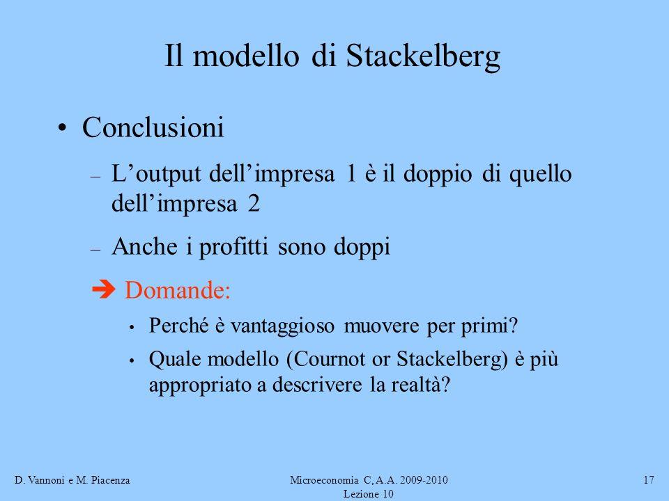 D. Vannoni e M. PiacenzaMicroeconomia C, A.A. 2009-2010 Lezione 10 17 Conclusioni – Loutput dellimpresa 1 è il doppio di quello dellimpresa 2 – Anche