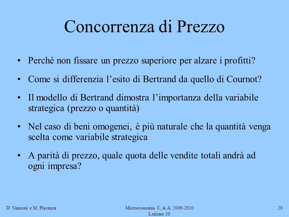 D. Vannoni e M. PiacenzaMicroeconomia C, A.A. 2009-2010 Lezione 10 20 Concorrenza di Prezzo Perché non fissare un prezzo superiore per alzare i profit