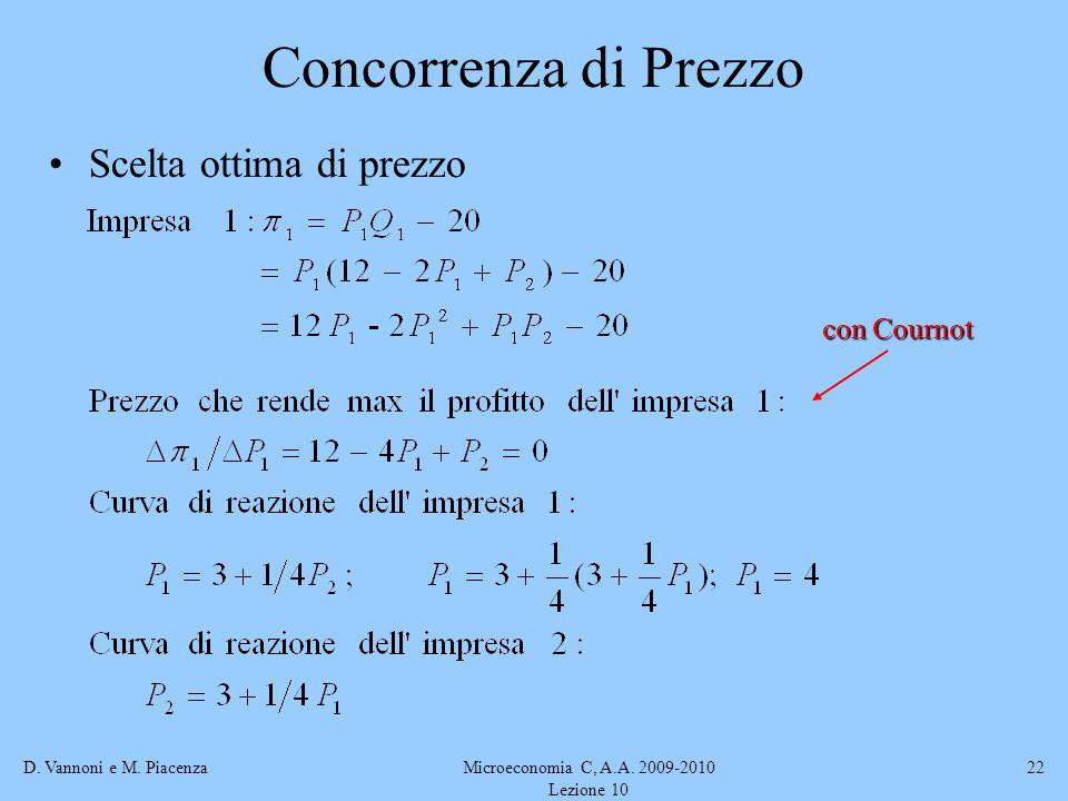 D. Vannoni e M. PiacenzaMicroeconomia C, A.A. 2009-2010 Lezione 10 22 Concorrenza di Prezzo Scelta ottima di prezzo con Cournot
