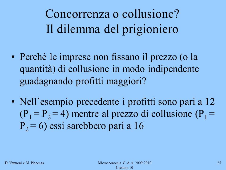 D. Vannoni e M. PiacenzaMicroeconomia C, A.A. 2009-2010 Lezione 10 25 Concorrenza o collusione? Il dilemma del prigioniero Perché le imprese non fissa