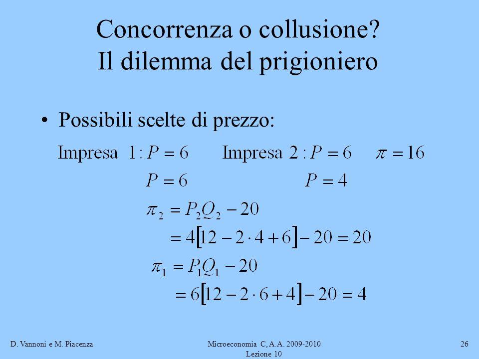 D. Vannoni e M. PiacenzaMicroeconomia C, A.A. 2009-2010 Lezione 10 26 Possibili scelte di prezzo: Concorrenza o collusione? Il dilemma del prigioniero