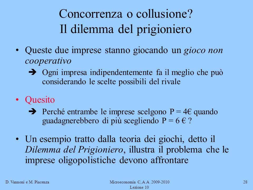 D. Vannoni e M. PiacenzaMicroeconomia C, A.A. 2009-2010 Lezione 10 28 Queste due imprese stanno giocando un gioco non cooperativo Ogni impresa indipen