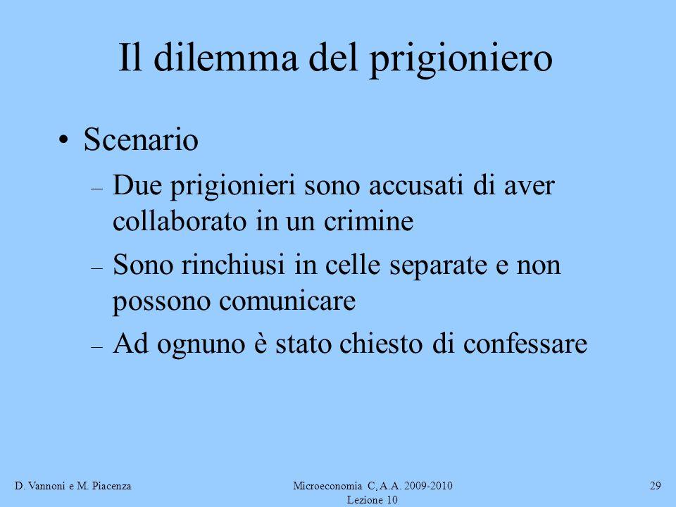 D. Vannoni e M. PiacenzaMicroeconomia C, A.A. 2009-2010 Lezione 10 29 Scenario – Due prigionieri sono accusati di aver collaborato in un crimine – Son