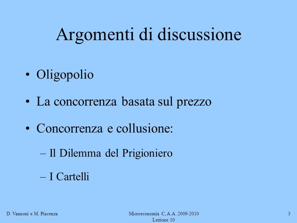 D. Vannoni e M. PiacenzaMicroeconomia C, A.A. 2009-2010 Lezione 10 3 Argomenti di discussione Oligopolio La concorrenza basata sul prezzo Concorrenza