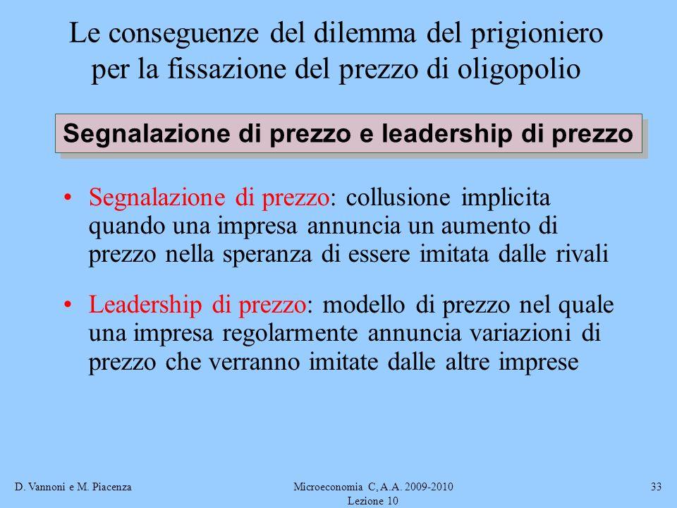 D. Vannoni e M. PiacenzaMicroeconomia C, A.A. 2009-2010 Lezione 10 33 Le conseguenze del dilemma del prigioniero per la fissazione del prezzo di oligo