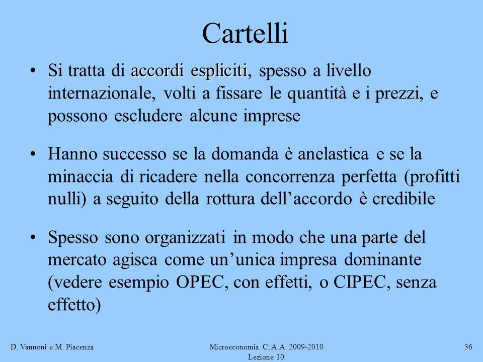 D. Vannoni e M. PiacenzaMicroeconomia C, A.A. 2009-2010 Lezione 10 36 Cartelli accordi esplicitiSi tratta di accordi espliciti, spesso a livello inter