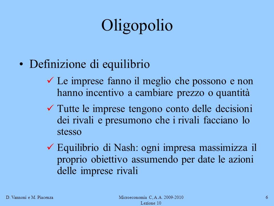 D. Vannoni e M. PiacenzaMicroeconomia C, A.A. 2009-2010 Lezione 10 6 Oligopolio Definizione di equilibrio Le imprese fanno il meglio che possono e non