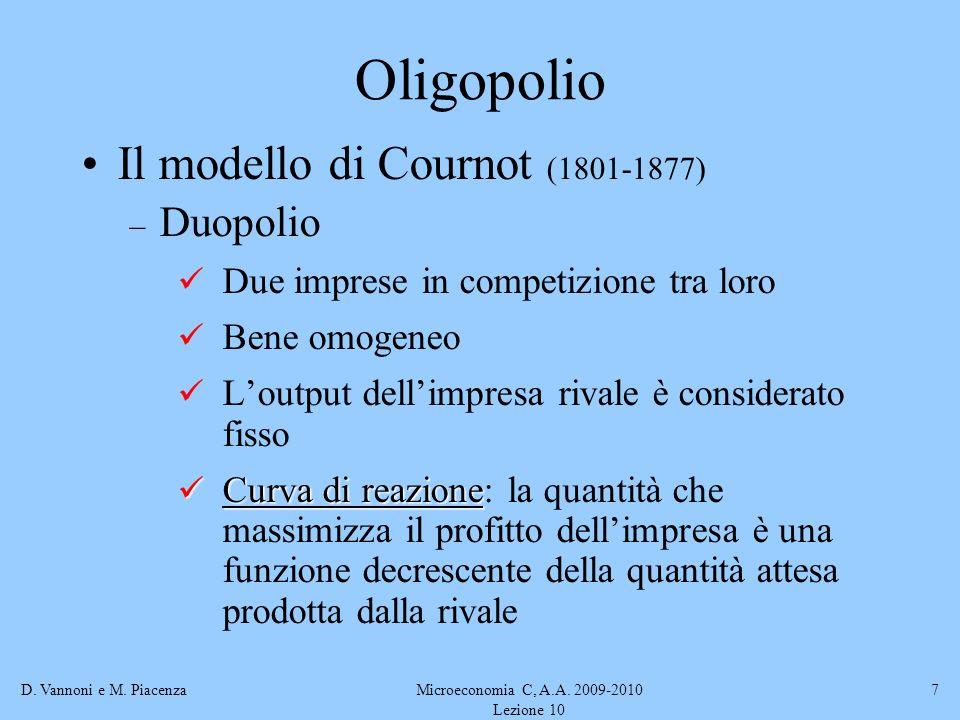 D. Vannoni e M. PiacenzaMicroeconomia C, A.A. 2009-2010 Lezione 10 7 Oligopolio Il modello di Cournot (1801-1877) – Duopolio Due imprese in competizio