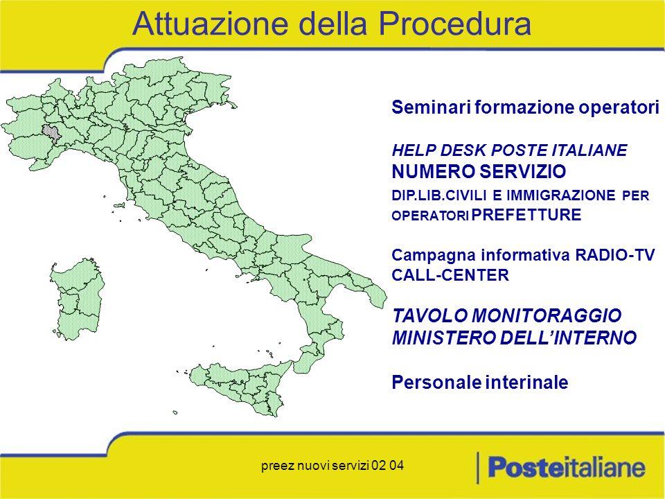 preez nuovi servizi 02 04 Seminari formazione operatori HELP DESK POSTE ITALIANE NUMERO SERVIZIO DIP.LIB.CIVILI E IMMIGRAZIONE PER OPERATORI PREFETTUR