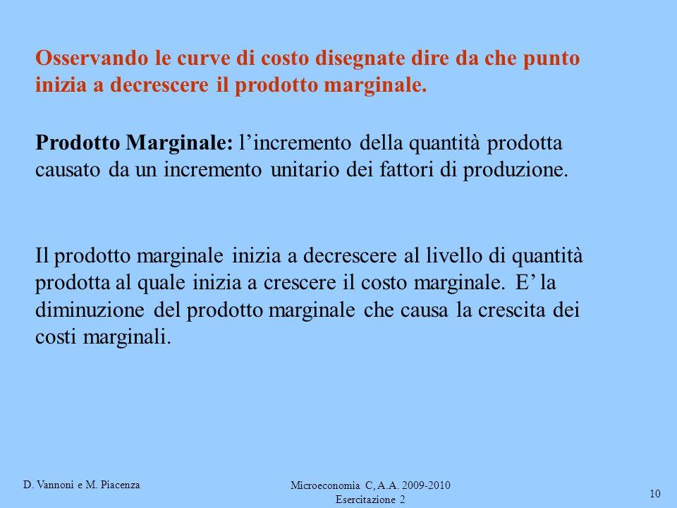 D. Vannoni e M. Piacenza Microeconomia C, A.A. 2009-2010 Esercitazione 2 10 Osservando le curve di costo disegnate dire da che punto inizia a decresce