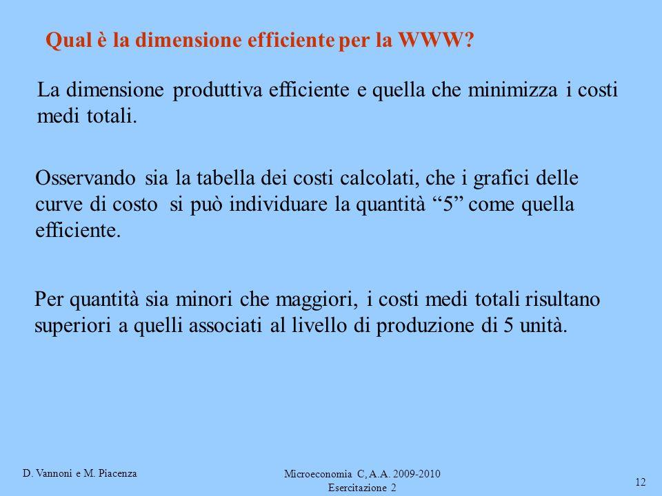 D. Vannoni e M. Piacenza Microeconomia C, A.A. 2009-2010 Esercitazione 2 12 Qual è la dimensione efficiente per la WWW? La dimensione produttiva effic