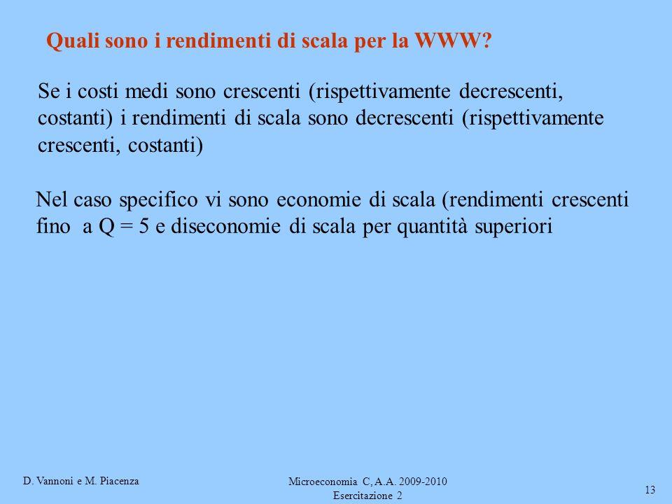 D. Vannoni e M. Piacenza Microeconomia C, A.A. 2009-2010 Esercitazione 2 13 Quali sono i rendimenti di scala per la WWW? Se i costi medi sono crescent