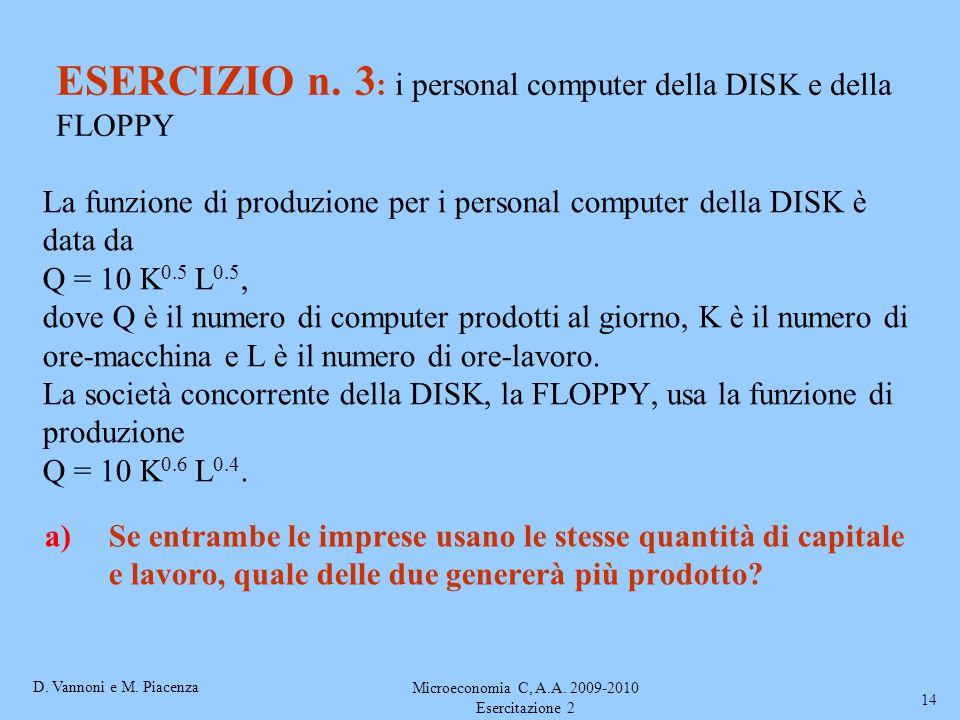 D. Vannoni e M. Piacenza Microeconomia C, A.A. 2009-2010 Esercitazione 2 14 La funzione di produzione per i personal computer della DISK è data da Q =